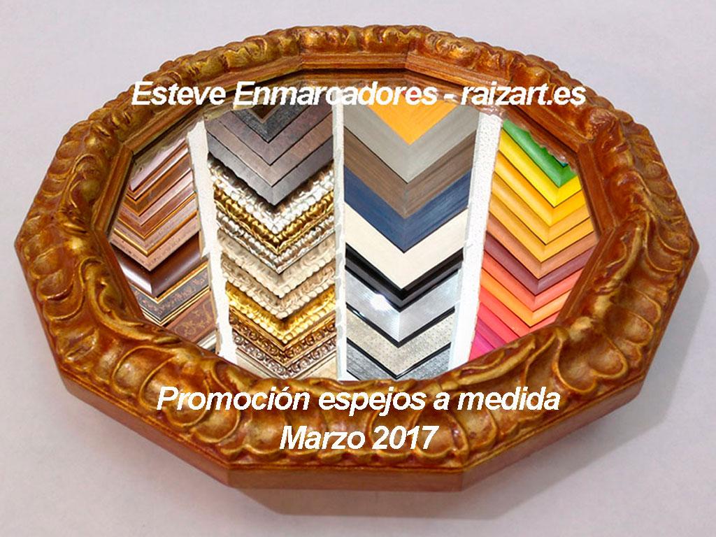 Espejo con marco trabajado de 12 lados en oro policromado - Esteve Enmarcadores