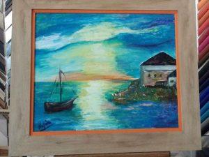 #pinturaaloleo de la #artista Montse Llopis que nos trajo @maria5270 para #enmarcar Eligió un #marcohechoamedida plano de 8 cm en #roble con un pequeño #suplemento en #color #naranja para #resaltar la #marina#marcos #cuadros #diy #hechoamano #barcelona #fortpienc #arcodetriunfo #arte #decoración