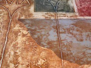 Grabado sobre papel y collage. C. Aliaga