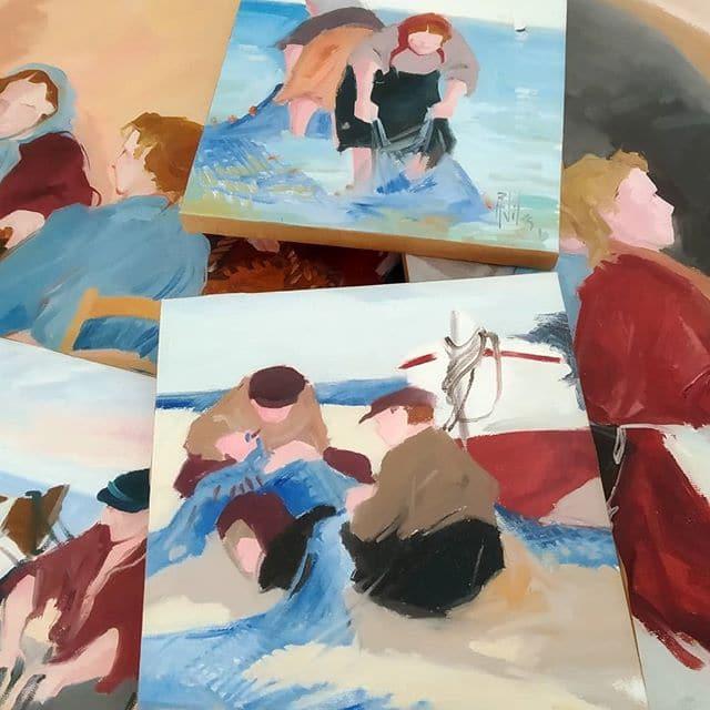 Pinturas al óleo costumbristas de R. Vila - Esteve Enmarcadores
