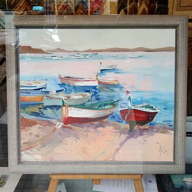 Marina. Pintura al óleo enmarcada