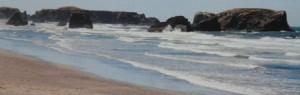 Olas, arena y rocas. Fotografía sobre tela