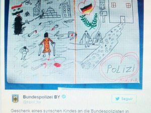"""Dicen que el buen #arte sale del reflejo del #corazón y los #sentimientos del artista … la técnica es mås secundaria.Este """"regalo de un niño sirio a la policia federal alemana en Passau"""" tiene la fuerza y la calidad humana de la mejor obra de ARTE !!!"""