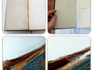 Proceso de restauración de un libro en mal estado