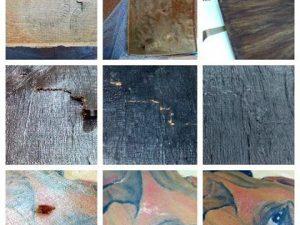 Tres detalles de esta #restauración de la #pinturaaloleo que nos trajeron hace poco. La #tela y los desgarros recuperados con plafón de #madera Las faltas de #pintura cubiertas y retocadas. Un #trabajo entretenido y agradecido ;-)#arte #artesanía #restauración #óleo #barcelona #fortpienc