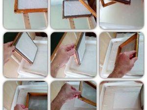 Preparando #papelhechoamano con fibras de #algodón #natural y #reciclado #libros en blanco especiales para #santjordi todo #hechoamano : #hojasdepapel #tapas y #cosido #arte #artesanía #diy #barcelona #fortpienc #santjordi2016 en #paseosanjuan #passeigsantjoan