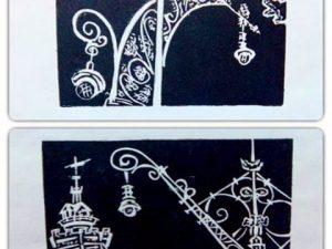"""""""Detalles de farolas"""" Dos #grabados estampados en #negro sobre #papelhechoamano con #fibras de #algodón Preparando #santjordi2016 en el #paseosanjuan #arte #artesanía #edicionlimitada #edicionesdearte #obragráficaoriginal #barcelona #fortpienc"""