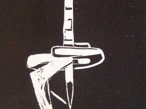 Detalle de un #grabado de J.E. #estampado en negro sobre #papelhechoamano de la #torredecalatrava en la montaña de #montjuic #barcelona #arte #artesanía #deunoenuno #obragráficaoriginal