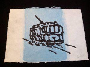 Grabado de J.E. sobre papel hecho a mano