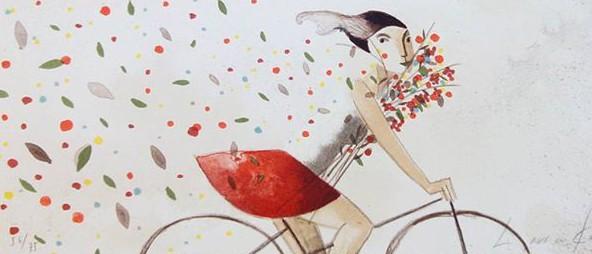 """Litografía de Didier Lourenço """"Mujer con ramo"""" 41x19 cm"""