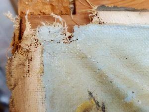 Pintura para restaurar y tela deformada