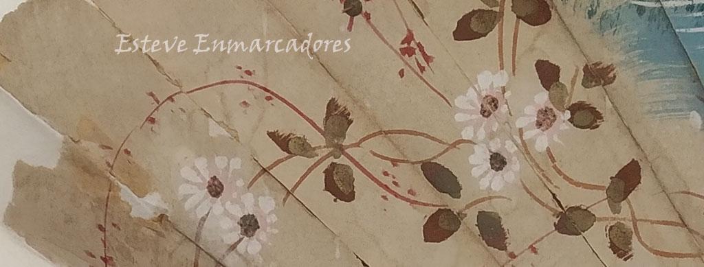 Detalle dibujo floral del abanico enmarcado - Esteve Enmarcadores