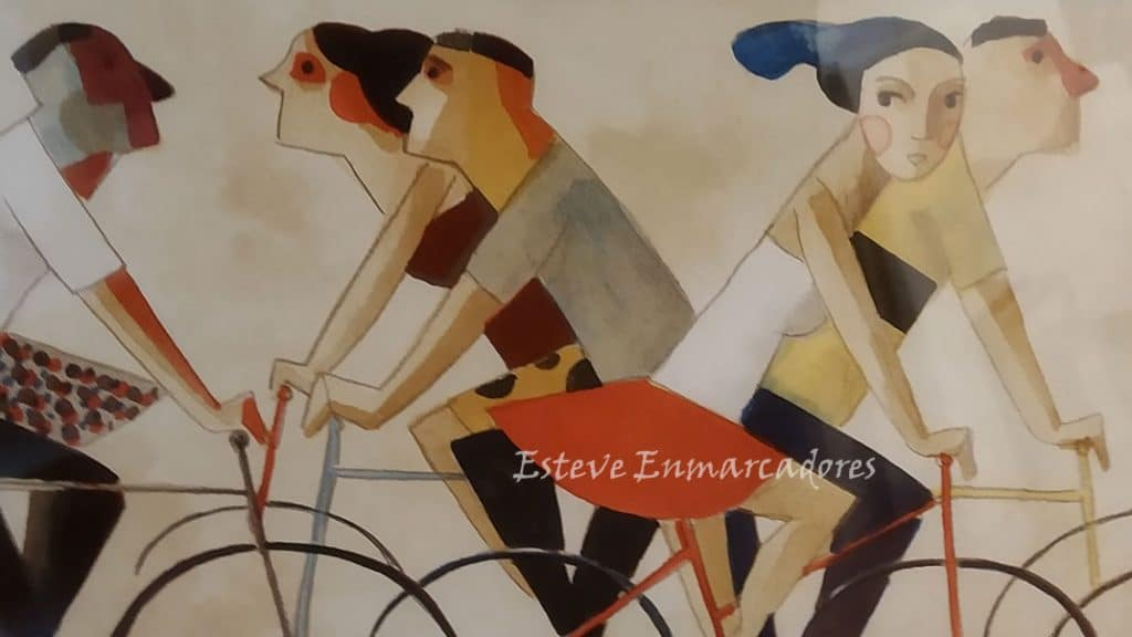 Didier Lourenço Detalle con ciclistas - Esteve Enmarcadores