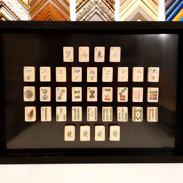Fichas de Mahjong enmarcadas