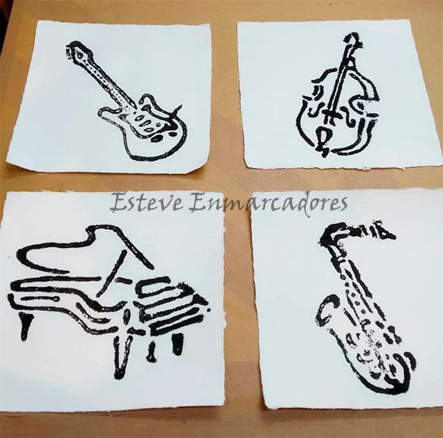 Pruebas de grabados instrumentos de música - Esteve Enmarcadores
