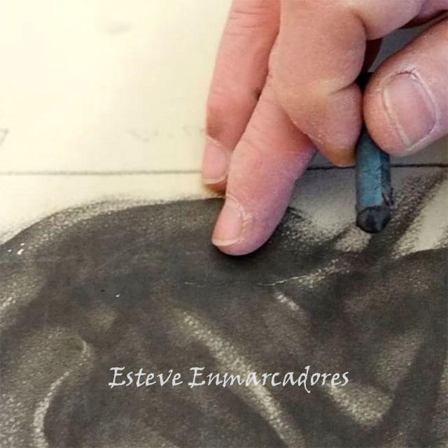 Carboncillo retocado y difuminado - Esteve Enmarcadores