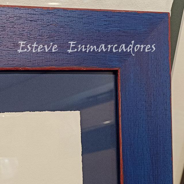 Marco plano azul con cantos rojos - Esteve Enmarcadores